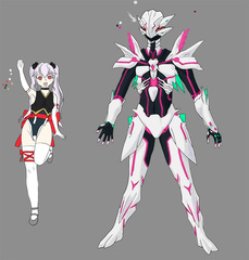 Saya's Magical Girl outfit and Tager-form, By Vega.